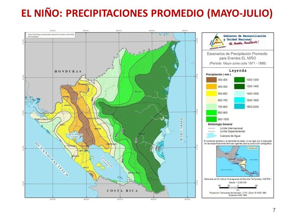 EL NIÑO: PRECIPITACIONES PROMEDIO (MAYO-JULIO)