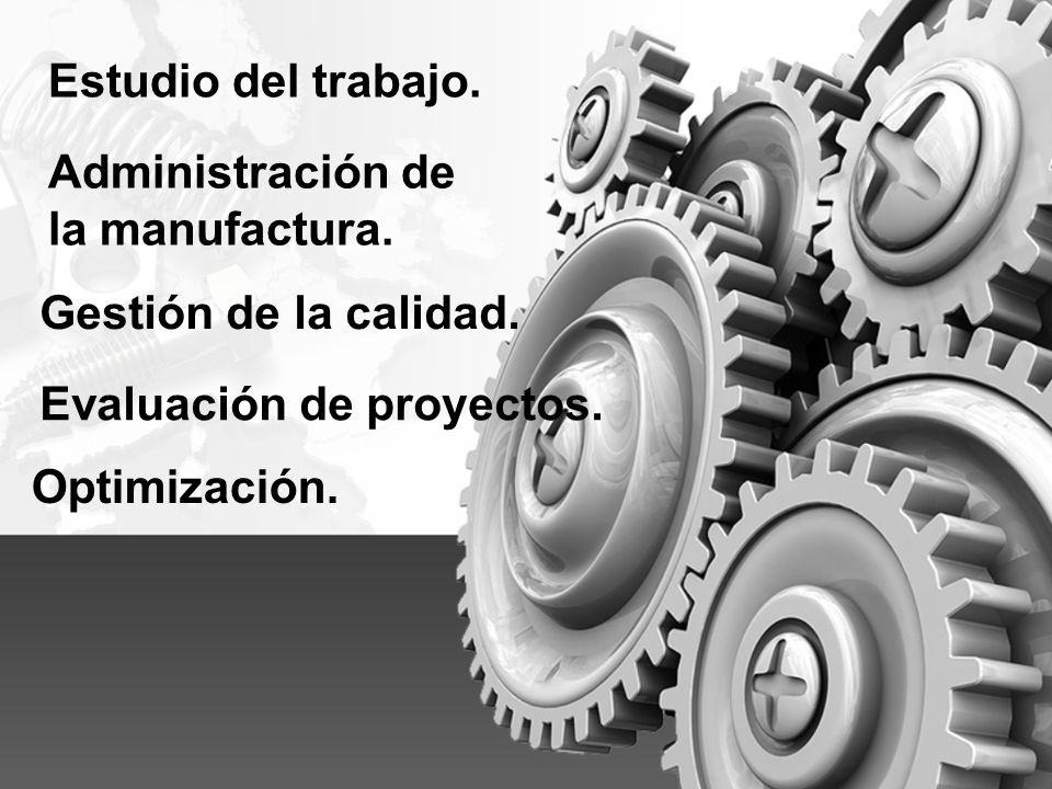 Estudio del trabajo. Administración de. la manufactura. Gestión de la calidad. Evaluación de proyectos.