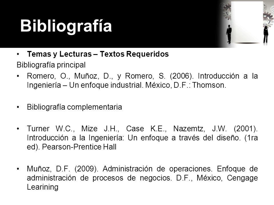 Bibliografía Temas y Lecturas – Textos Requeridos