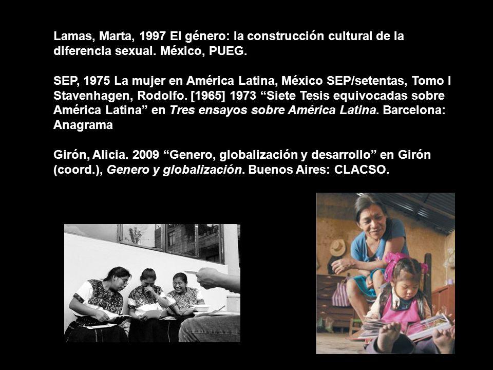 Lamas, Marta, 1997 El género: la construcción cultural de la diferencia sexual. México, PUEG.