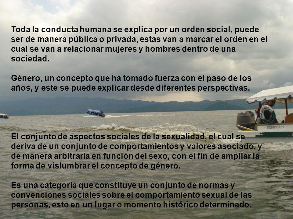 Toda la conducta humana se explica por un orden social, puede ser de manera pública o privada, estas van a marcar el orden en el cual se van a relacionar mujeres y hombres dentro de una sociedad.