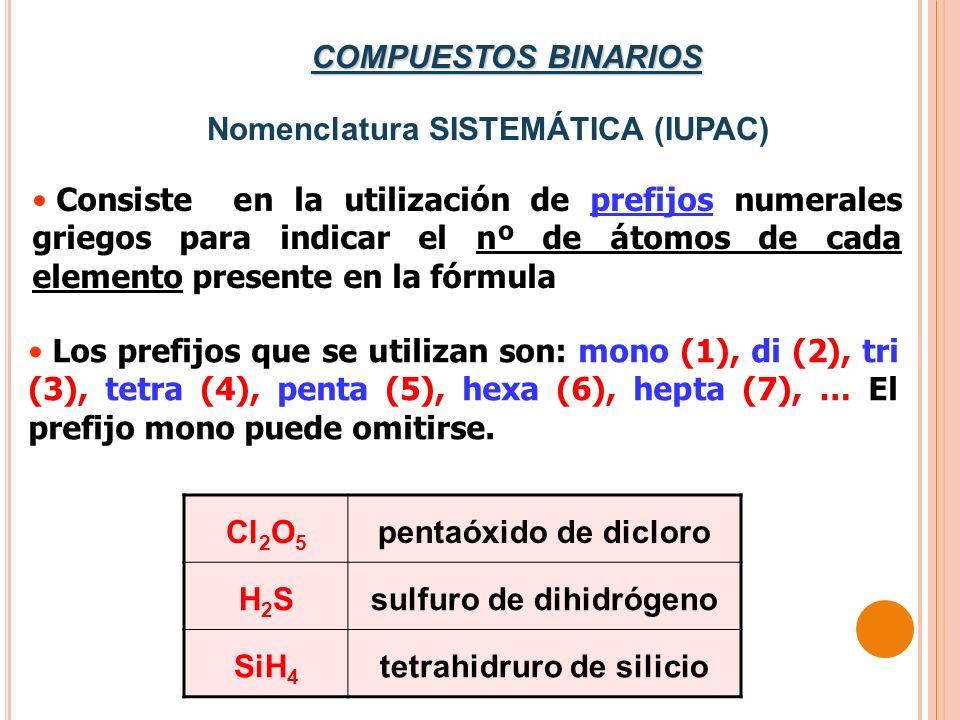 Nomenclatura SISTEMÁTICA (IUPAC)