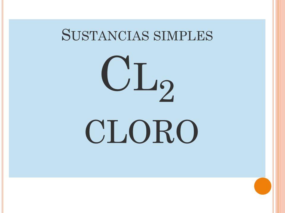 Sustancias simples Cl2 Cloro