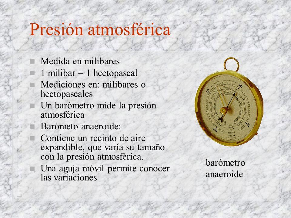 Presión atmosférica Medida en milibares 1 milibar = 1 hectopascal