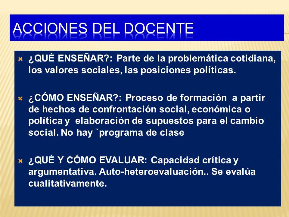 ACCIONES DEL DOCENTE ¿QUÉ ENSEÑAR : Parte de la problemática cotidiana, los valores sociales, las posiciones políticas.