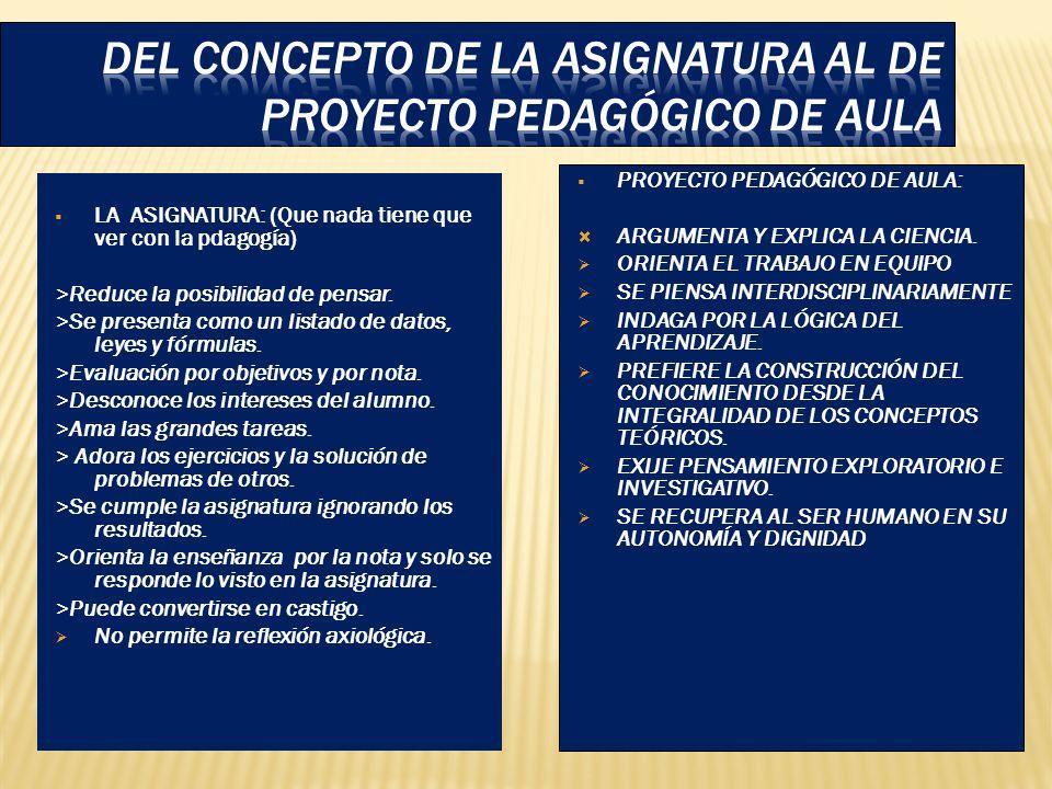 DEL CONCEPTO DE LA ASIGNATURA AL DE PROYECTO PEDAGÓGICO DE AULA