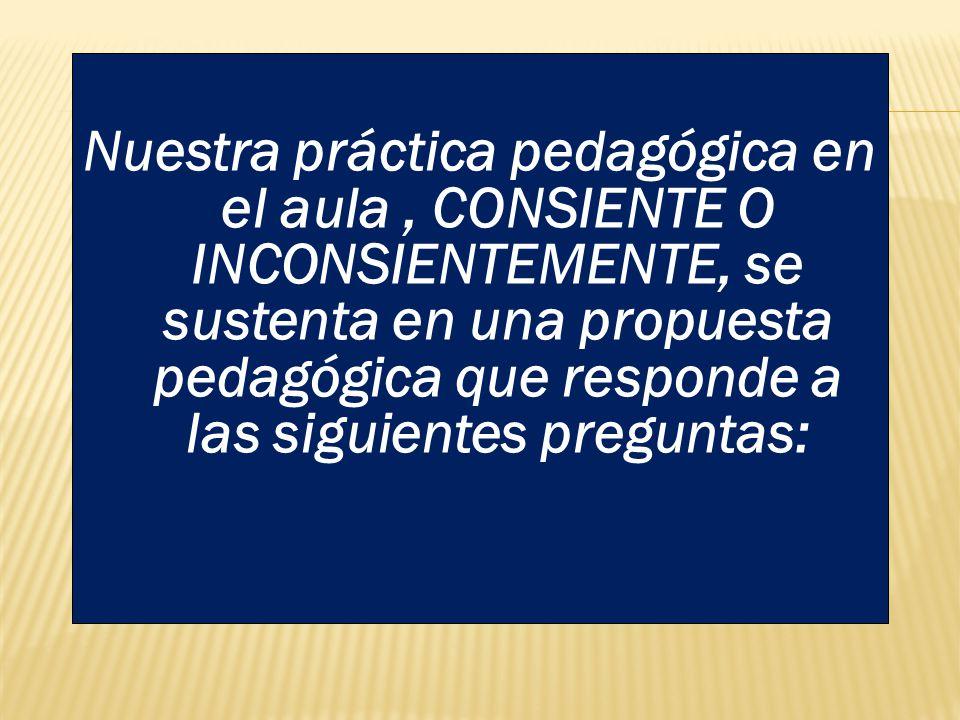 Nuestra práctica pedagógica en el aula , CONSIENTE O INCONSIENTEMENTE, se sustenta en una propuesta pedagógica que responde a las siguientes preguntas: