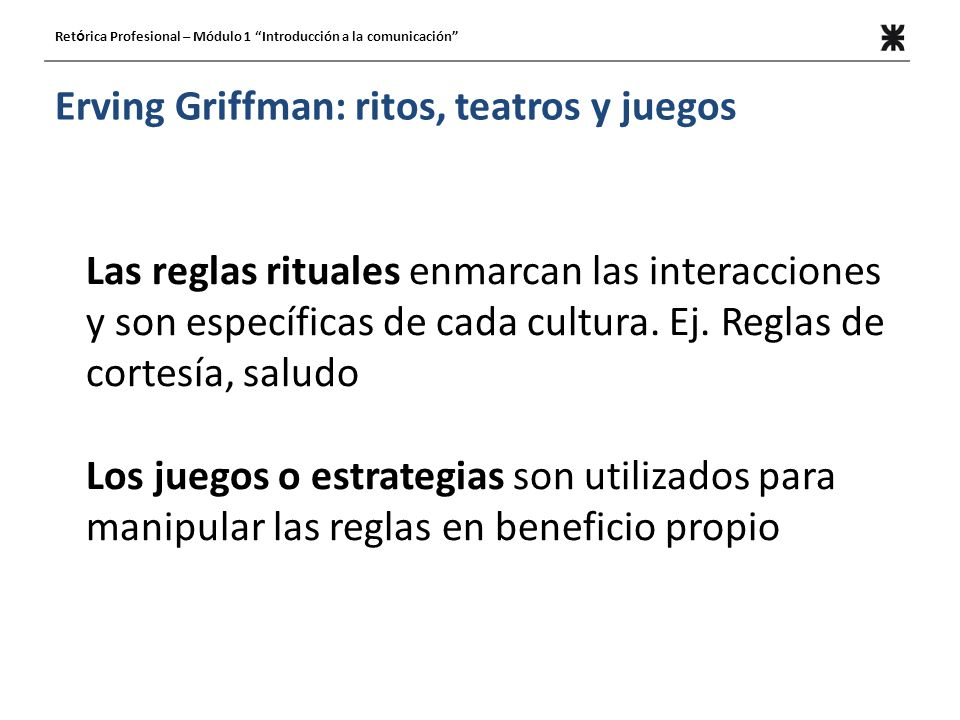 Erving Griffman: ritos, teatros y juegos