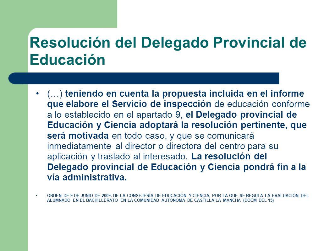 Resolución del Delegado Provincial de Educación