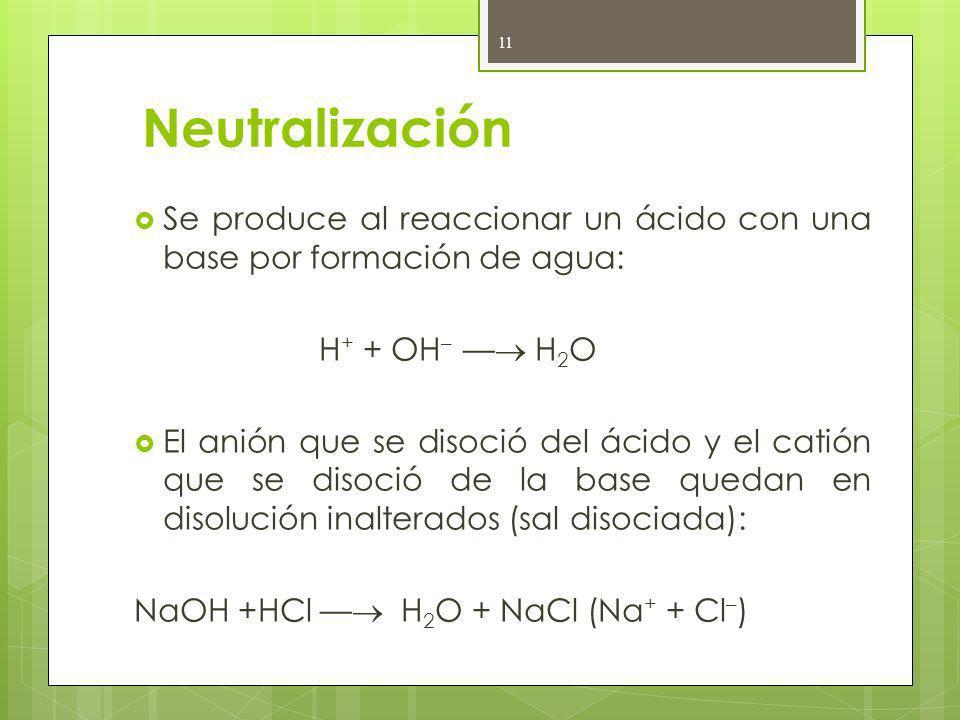 Neutralización Se produce al reaccionar un ácido con una base por formación de agua: H+ + OH– — H2O.