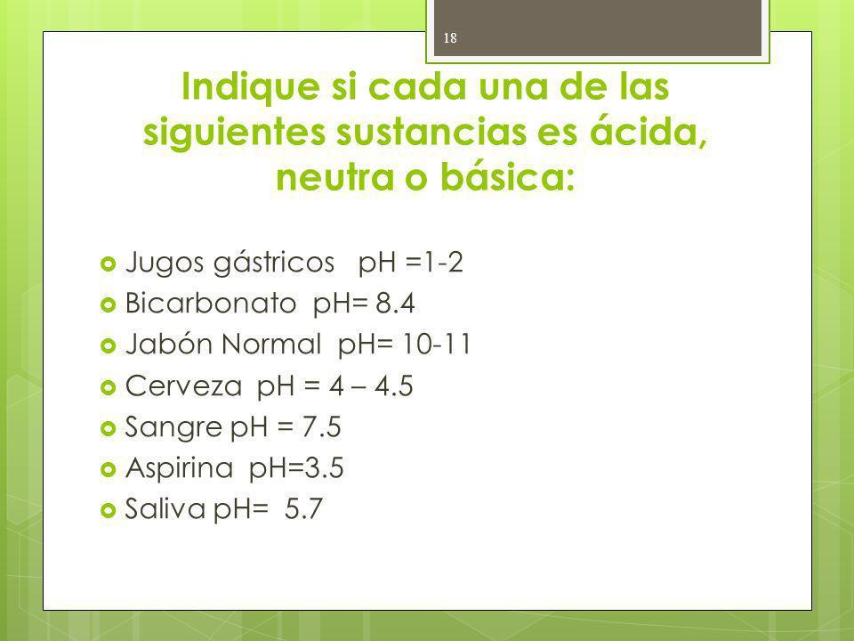 Indique si cada una de las siguientes sustancias es ácida, neutra o básica: