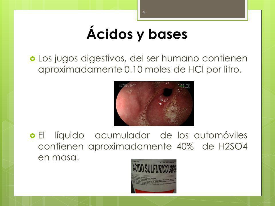 Ácidos y bases Los jugos digestivos, del ser humano contienen aproximadamente 0.10 moles de HCl por litro.