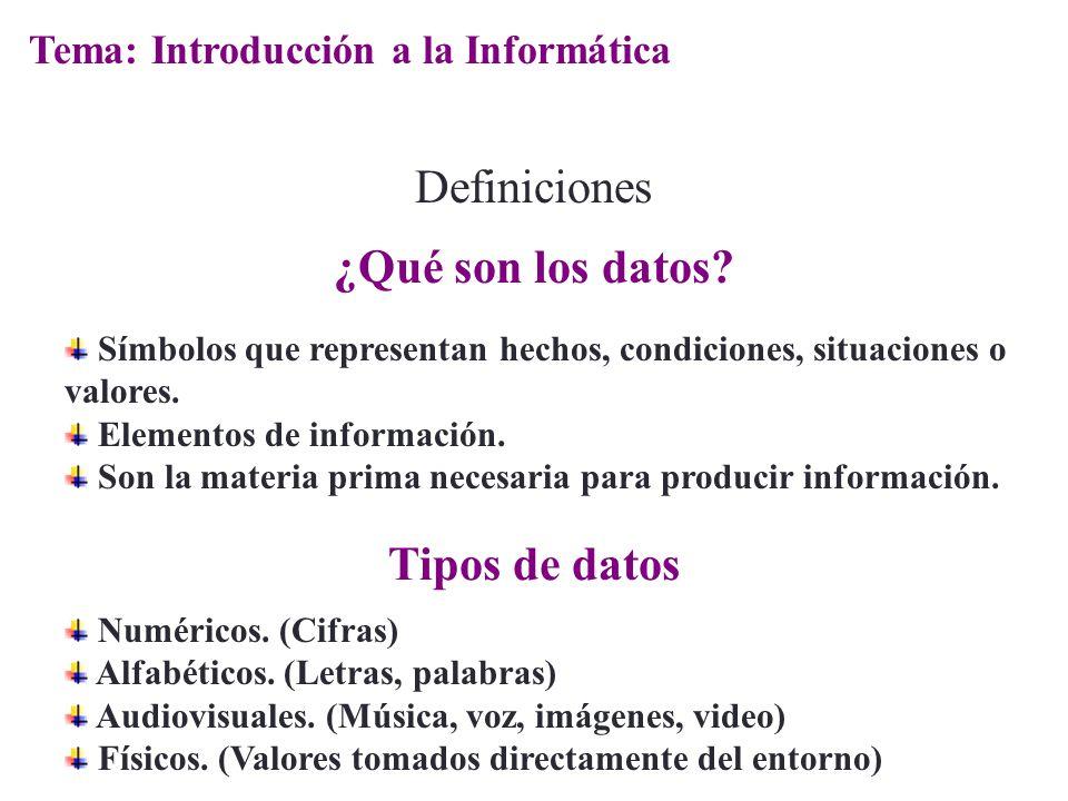 ¿Qué son los datos Tipos de datos