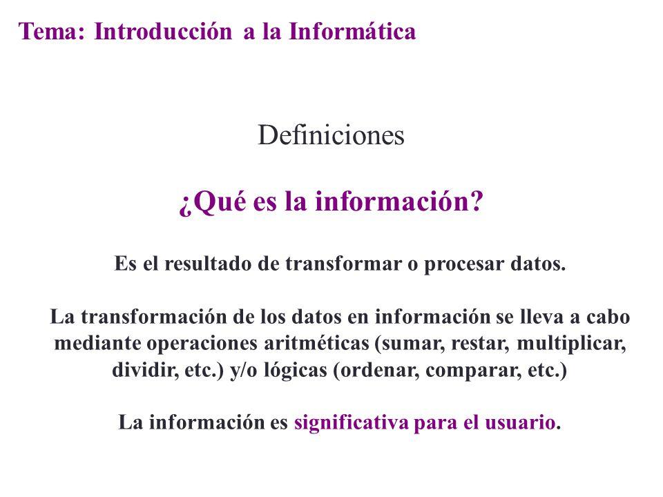 Definiciones ¿Qué es la información