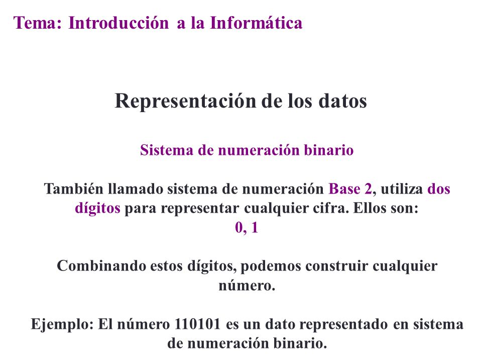 Representación de los datos