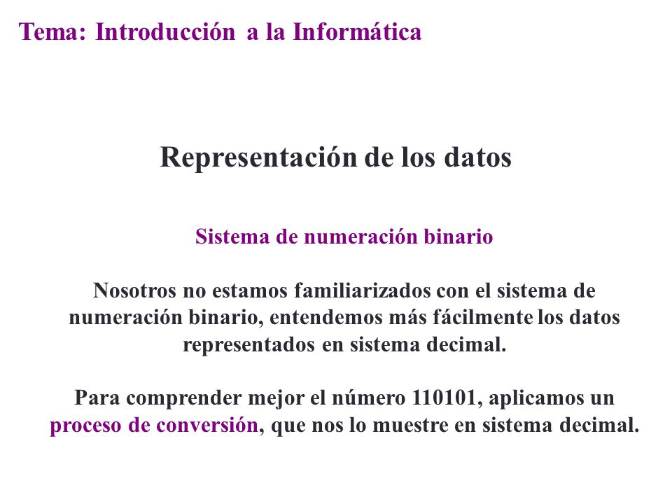 Representación de los datos Sistema de numeración binario