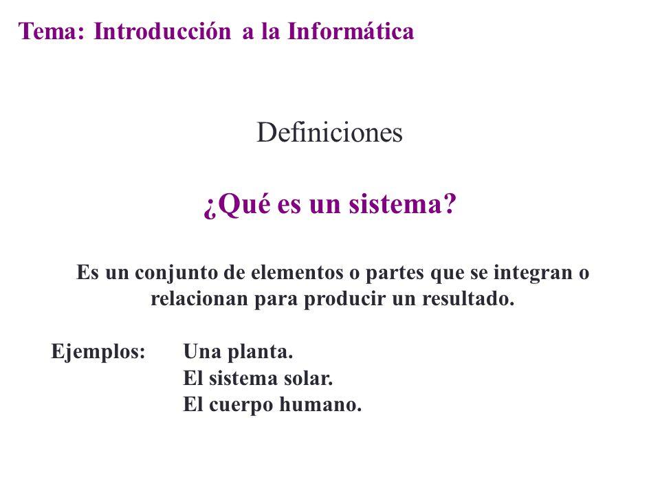Definiciones ¿Qué es un sistema Tema: Introducción a la Informática