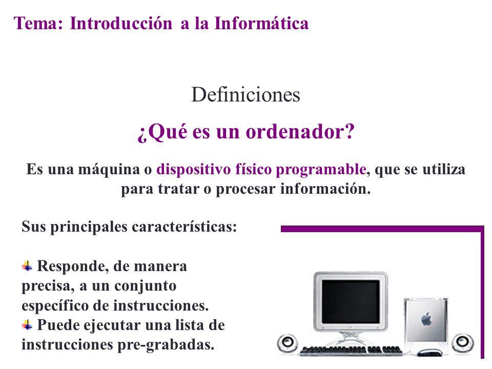 Definiciones ¿Qué es un ordenador Tema: Introducción a la Informática