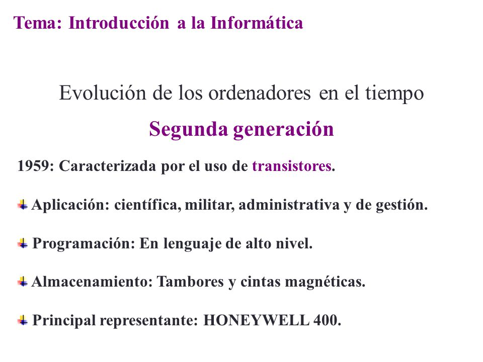 Evolución de los ordenadores en el tiempo