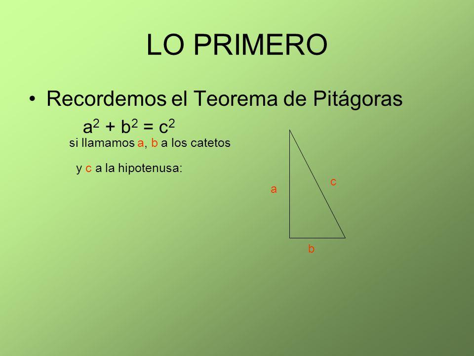 LO PRIMERO Recordemos el Teorema de Pitágoras a2 + b2 = c2