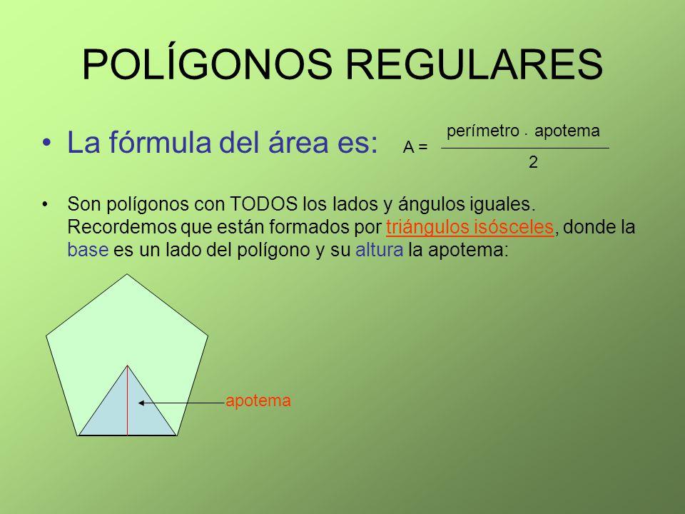 POLÍGONOS REGULARES La fórmula del área es: