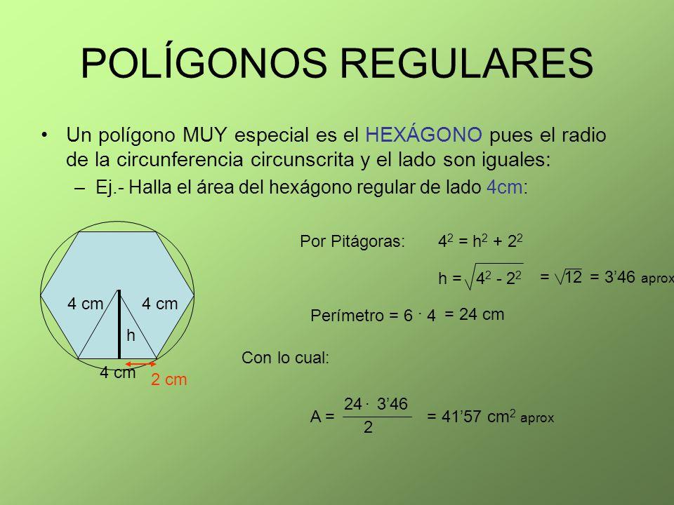 POLÍGONOS REGULARES Un polígono MUY especial es el HEXÁGONO pues el radio de la circunferencia circunscrita y el lado son iguales: