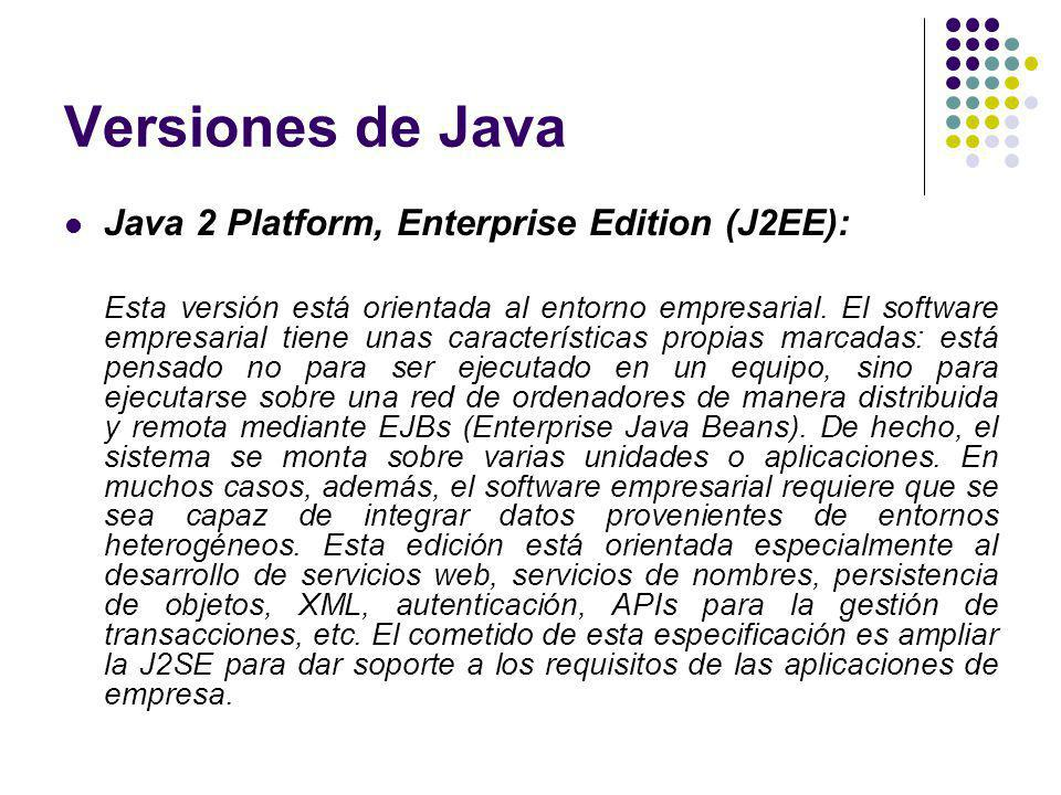 Versiones de Java Java 2 Platform, Enterprise Edition (J2EE):