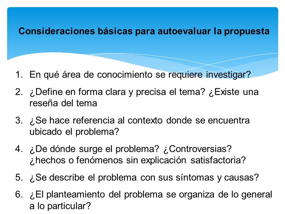 Consideraciones básicas para autoevaluar la propuesta