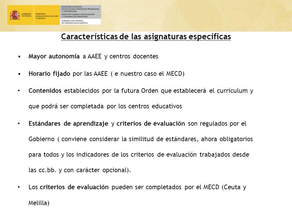 Características de las asignaturas específicas