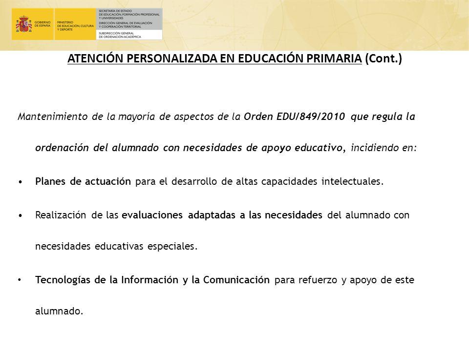 ATENCIÓN PERSONALIZADA EN EDUCACIÓN PRIMARIA (Cont.)