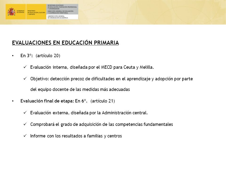 EVALUACIONES EN EDUCACIÓN PRIMARIA
