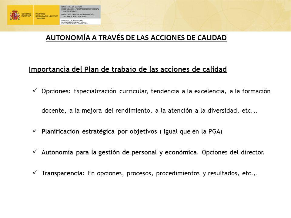 AUTONOMÍA A TRAVÉS DE LAS ACCIONES DE CALIDAD