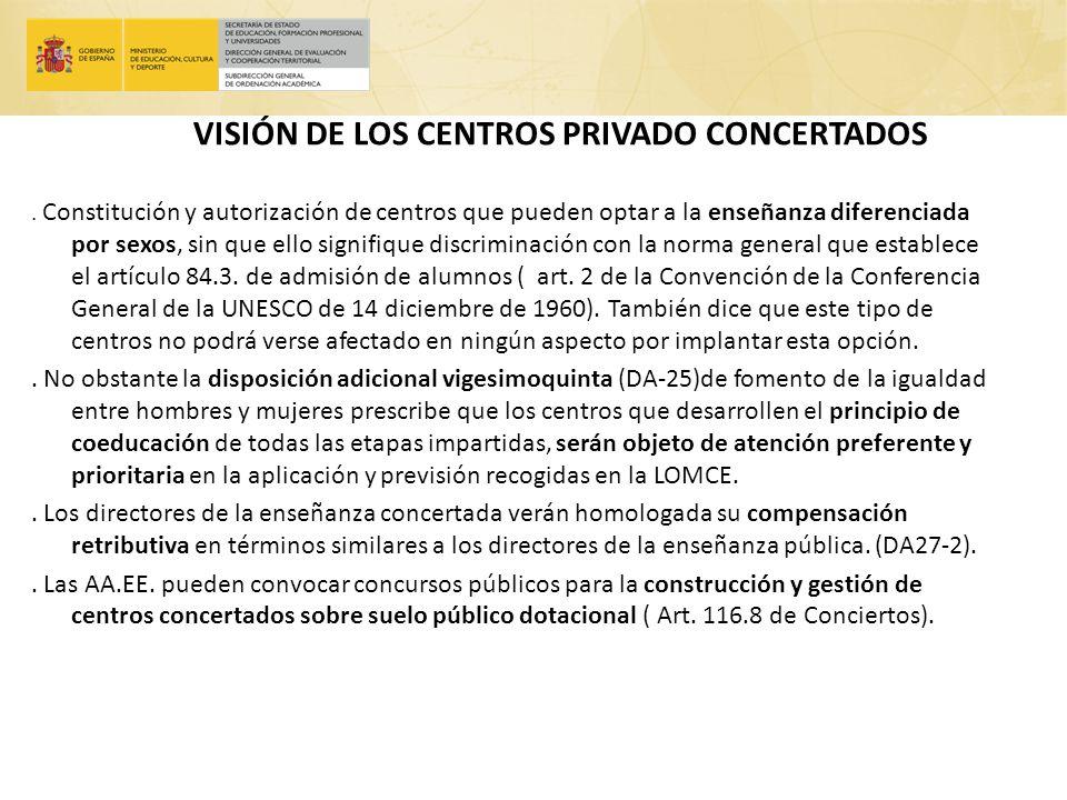 VISIÓN DE LOS CENTROS PRIVADO CONCERTADOS