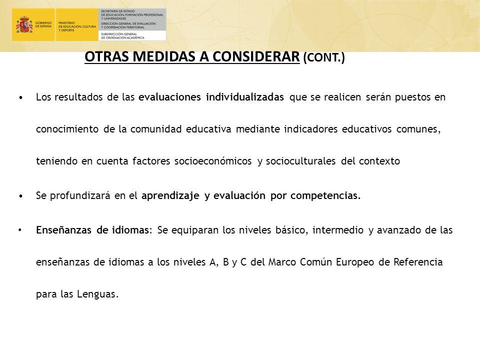 OTRAS MEDIDAS A CONSIDERAR (CONT.)