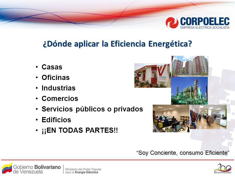 ¿Dónde aplicar la Eficiencia Energética