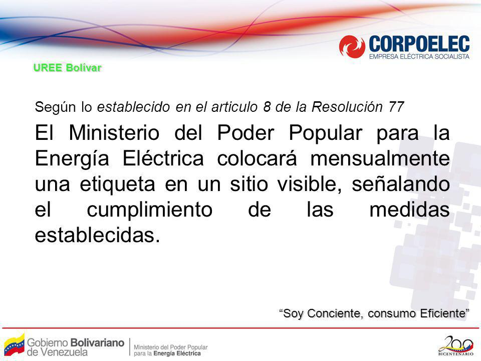 UREE Bolívar Según lo establecido en el articulo 8 de la Resolución 77.