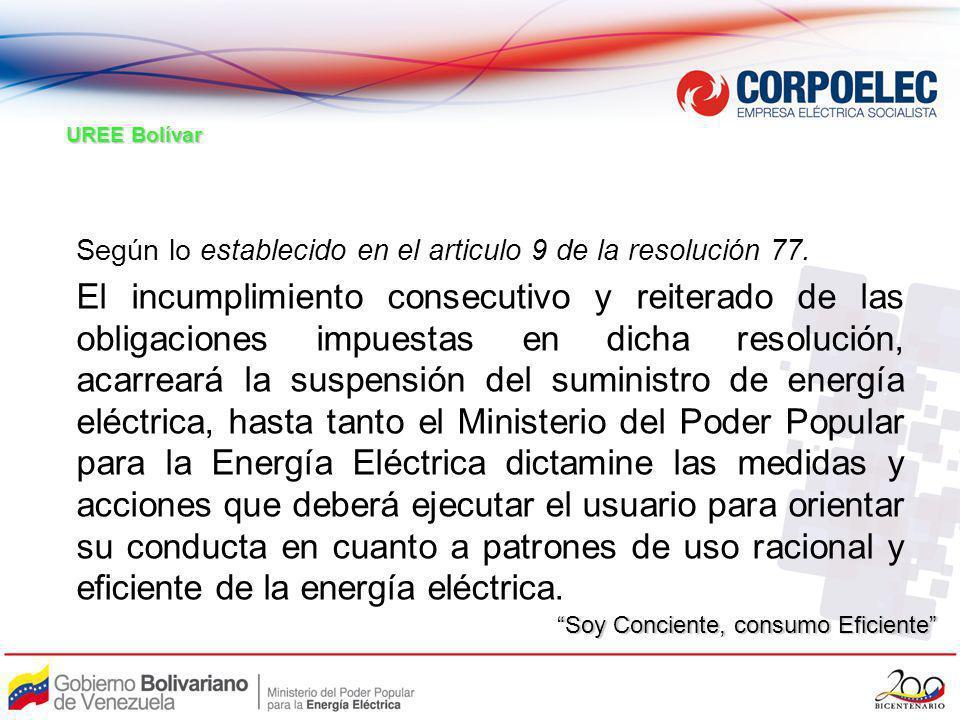 UREE Bolívar Según lo establecido en el articulo 9 de la resolución 77.