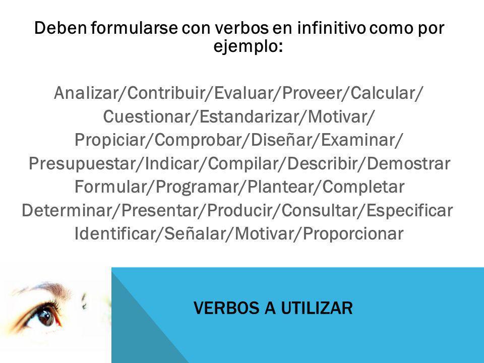 Deben formularse con verbos en infinitivo como por ejemplo: