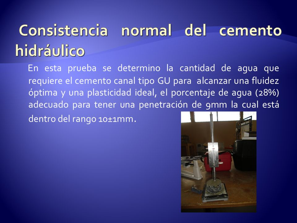 Consistencia normal del cemento hidráulico