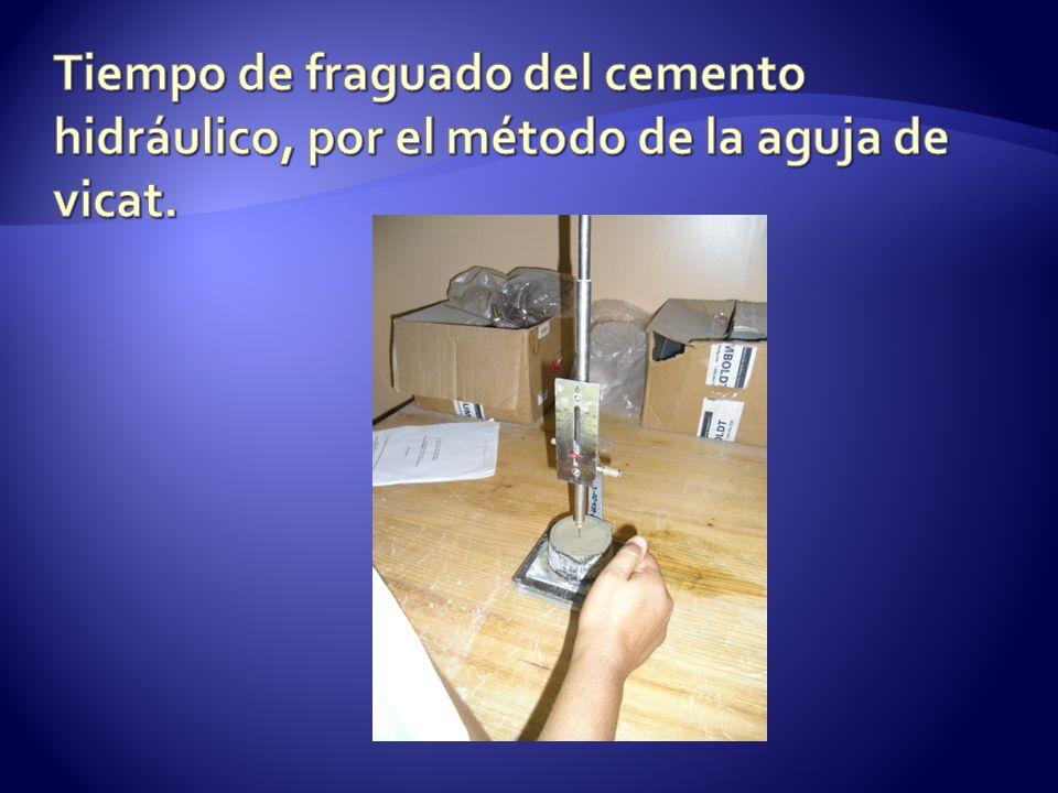 Tiempo de fraguado del cemento hidráulico, por el método de la aguja de vicat.