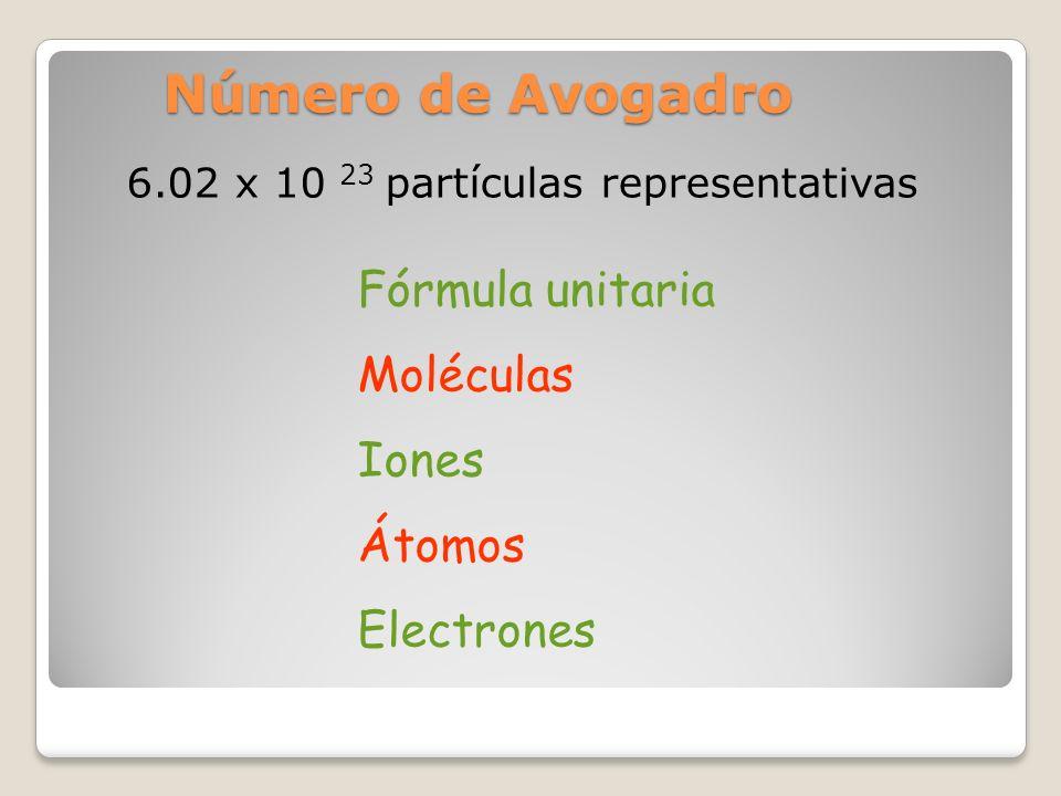 6.02 x 10 23 partículas representativas