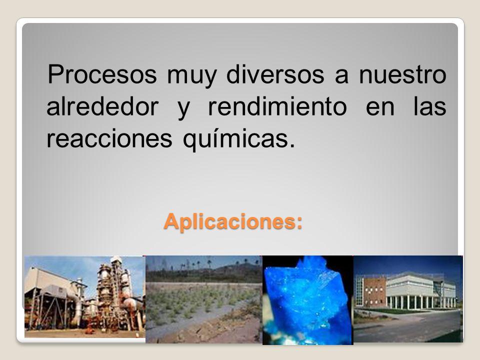 Procesos muy diversos a nuestro alrededor y rendimiento en las reacciones químicas.