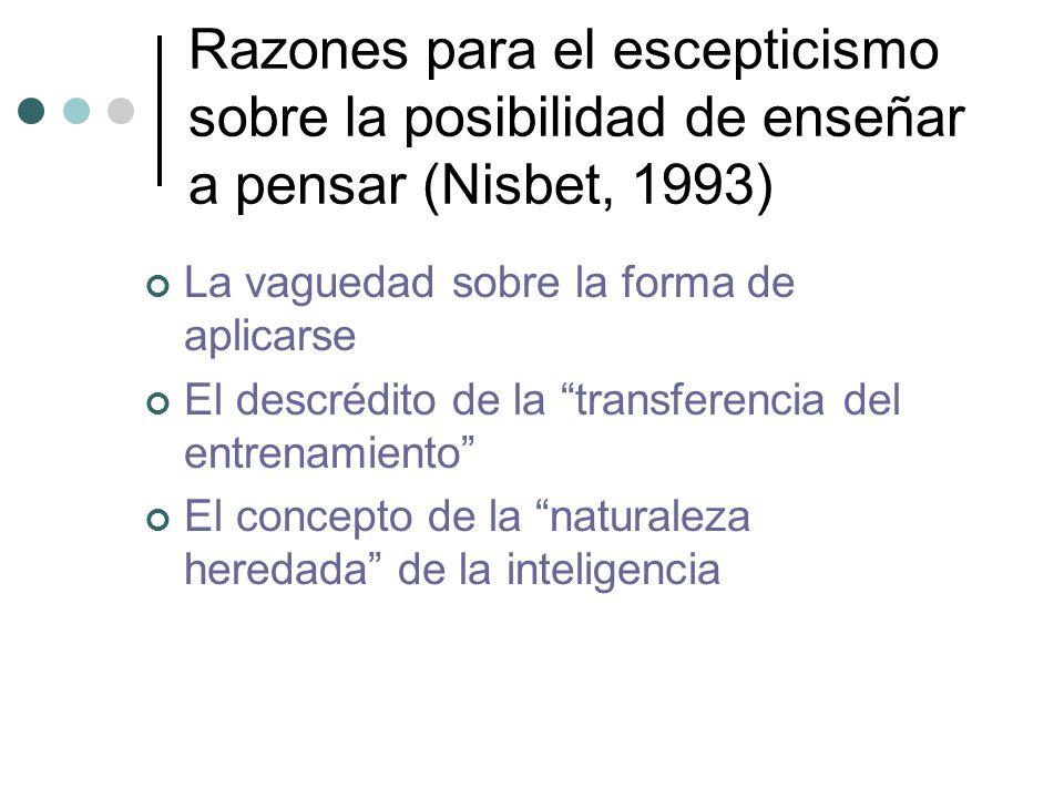 Razones para el escepticismo sobre la posibilidad de enseñar a pensar (Nisbet, 1993)