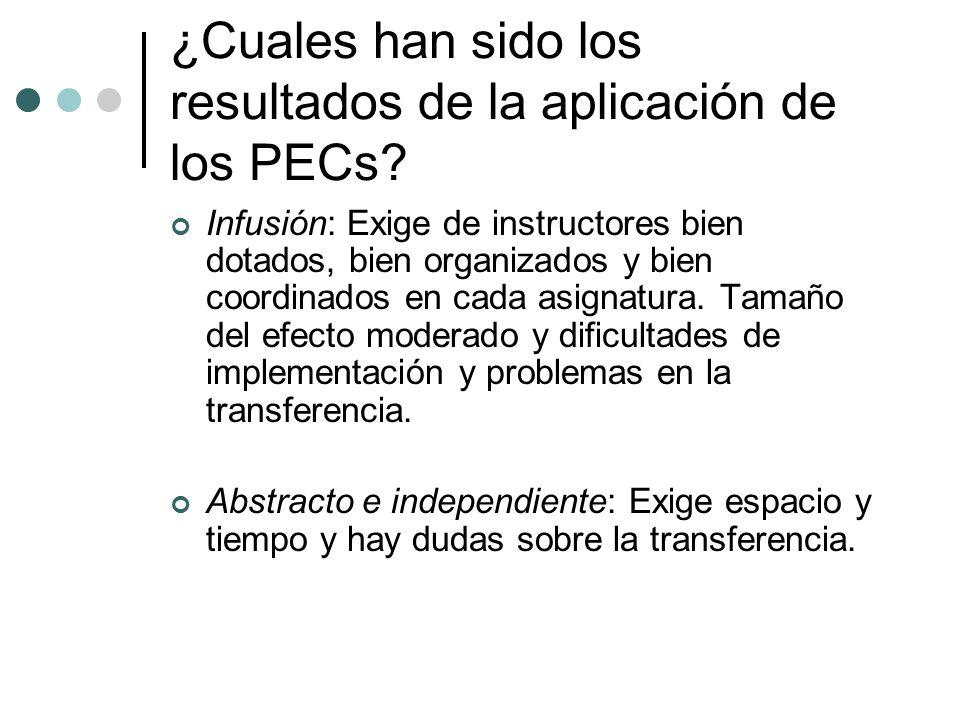 ¿Cuales han sido los resultados de la aplicación de los PECs