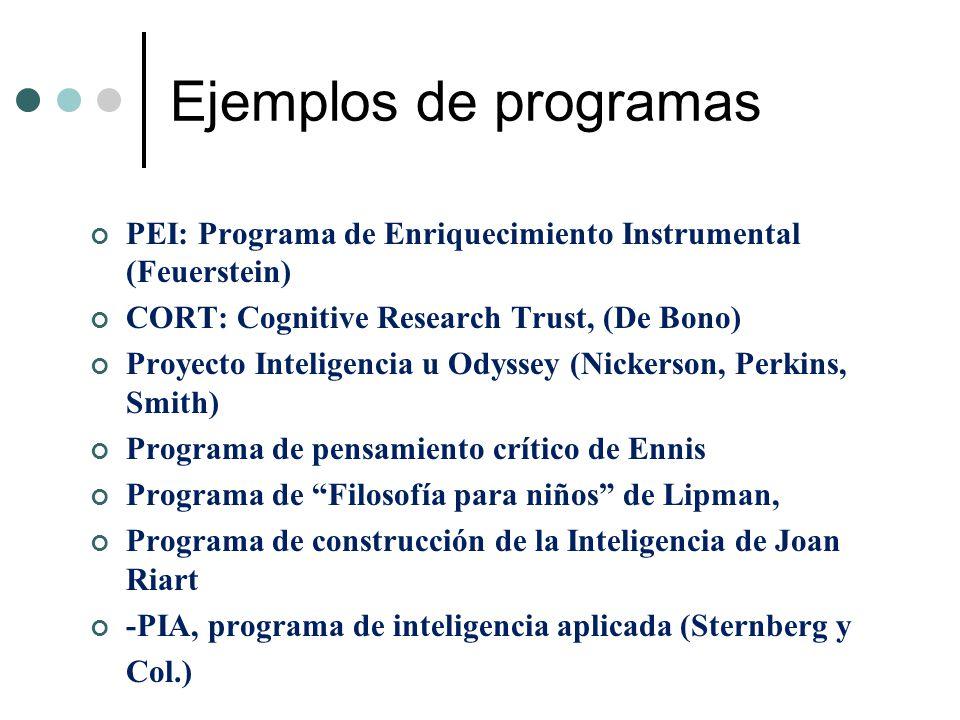 Ejemplos de programas PEI: Programa de Enriquecimiento Instrumental (Feuerstein) CORT: Cognitive Research Trust, (De Bono)
