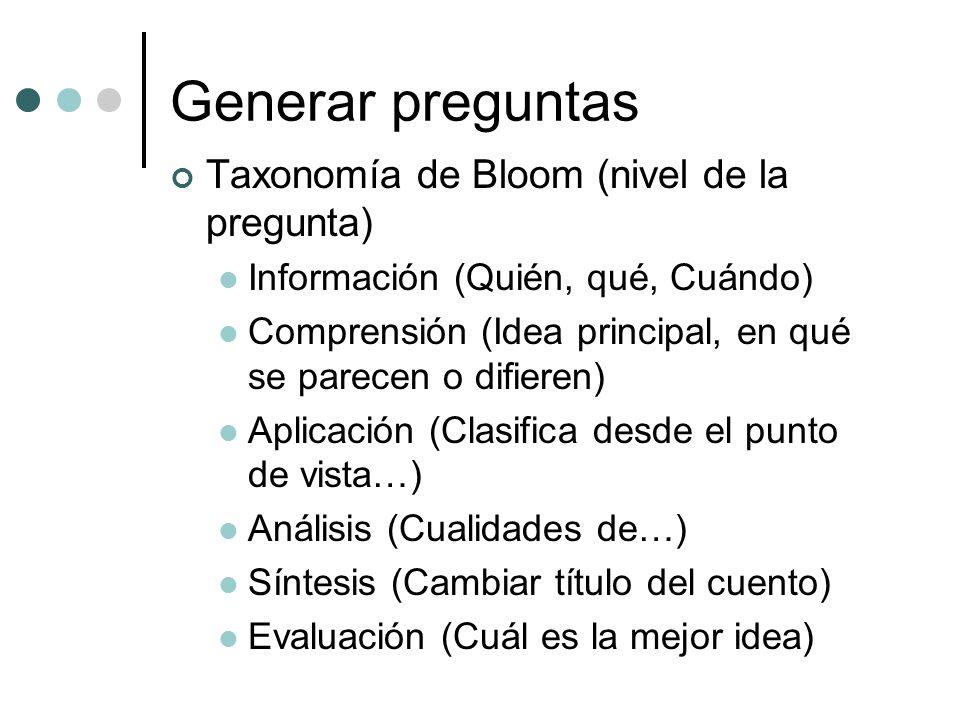 Generar preguntas Taxonomía de Bloom (nivel de la pregunta)
