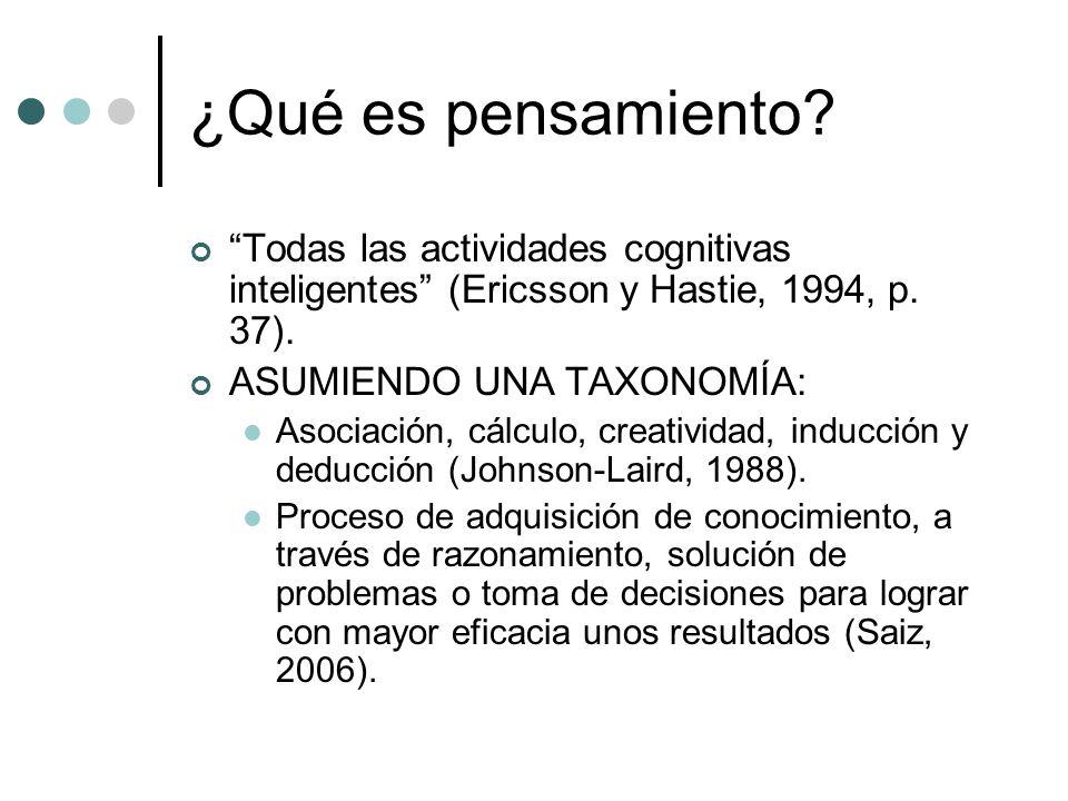 ¿Qué es pensamiento Todas las actividades cognitivas inteligentes (Ericsson y Hastie, 1994, p. 37).
