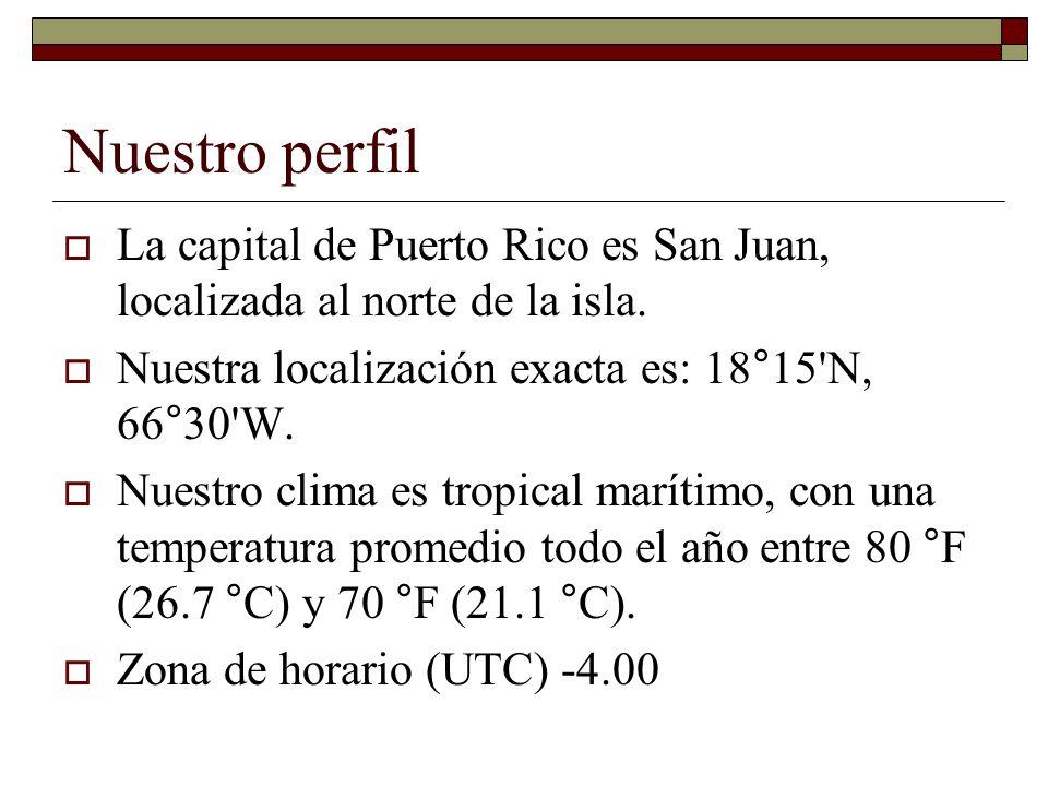 Nuestro perfil La capital de Puerto Rico es San Juan, localizada al norte de la isla. Nuestra localización exacta es: 18°15 N, 66°30 W.