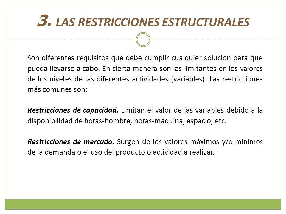 3. LAS RESTRICCIONES ESTRUCTURALES