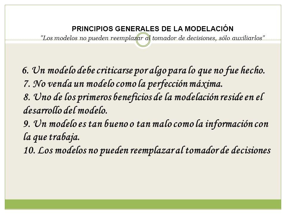PRINCIPIOS GENERALES DE LA MODELACIÓN Los modelos no pueden reemplazar al tomador de decisiones, sólo auxiliarlos